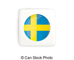 Sweden flag square glossy button Clip Art and Stock Illustrations.