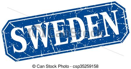 Clipart Vector of Sweden blue square grunge retro style sign.