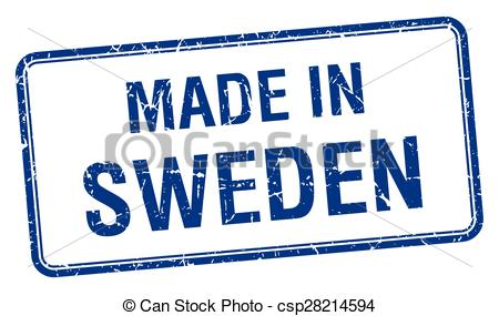 EPS Vectors of made in Sweden blue square isolated stamp.