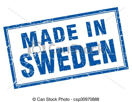 Vector of Sweden blue square grunge made in stamp csp30970888.