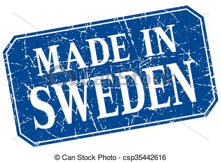 Vector Clip Art of made in Sweden blue square grunge stamp.