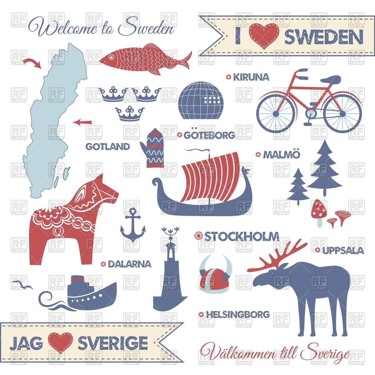 Design elements of national symbols of Sweden Vector Image #44768.