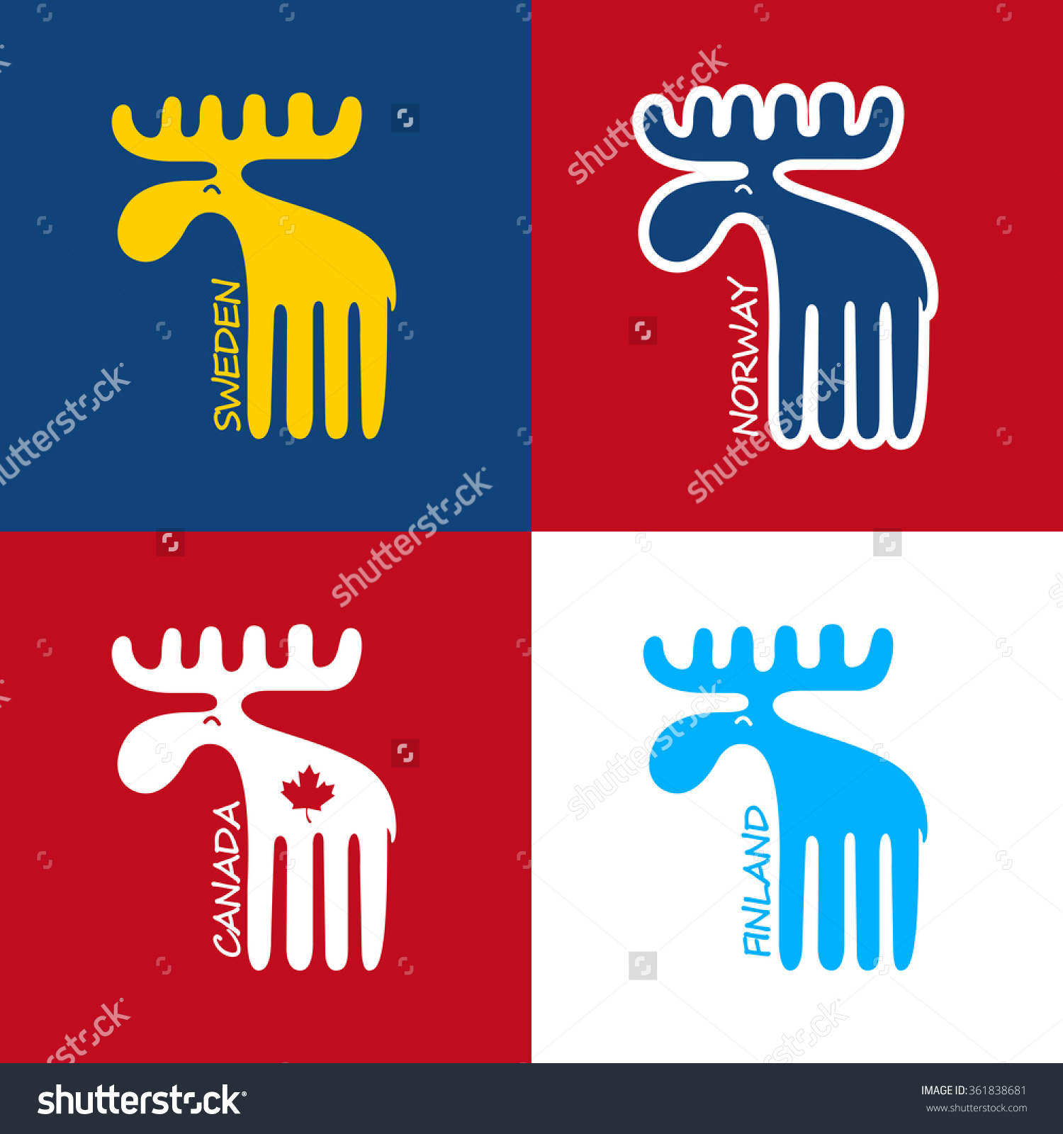 Moose Symbol Canada Sweden Finland Norway Stock Vector 361838681.