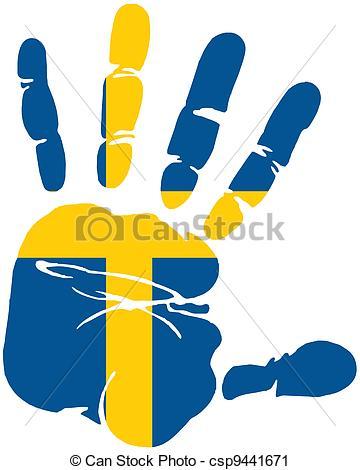 Vector Clip Art of handprint flag of sweden csp9441671.