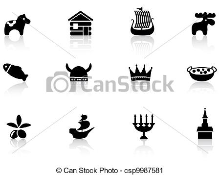 Vector Clip Art of Sweden icons set csp9987581.