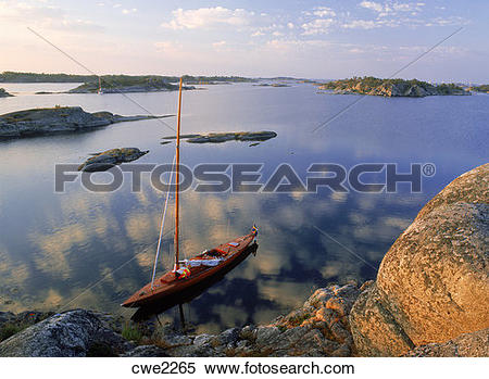 Stock Image of Wooden sailboat at Stora Nassa island group in.