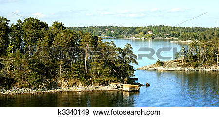 Stock Photograph of Dwellings islands on Stockholm archipelago.