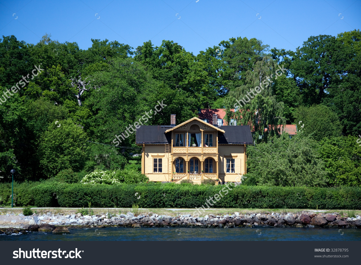 Lonely Suburban House On Little Island Stock Photo 32878795.