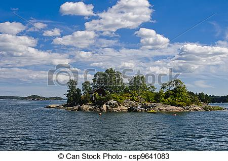 Stock Photos of Swedish red cottage on a small island.