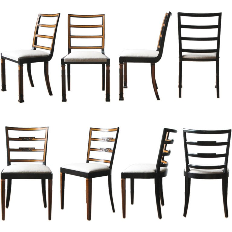 8 Erik Chambert Swedish art deco dining chairs two styles. at 1stdibs.