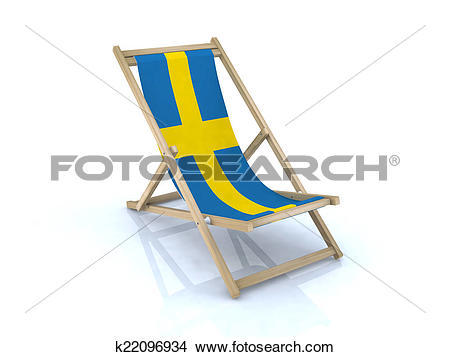 Drawings of beach chair with swedish flag k22096934.