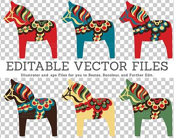 Editable Vector Dala Horse Illustrations. Traditional Nordic.