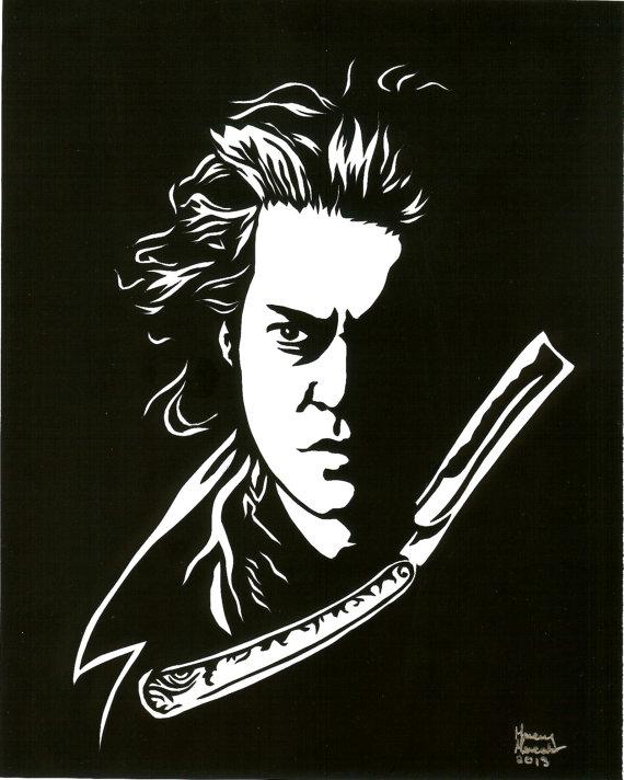 Cut Sweeney Todd Paper Cutting Framed 8 X 10.