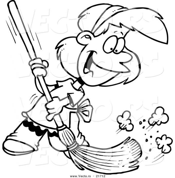 Sweeping the floor clipart black and white 6 » Clipart Station.