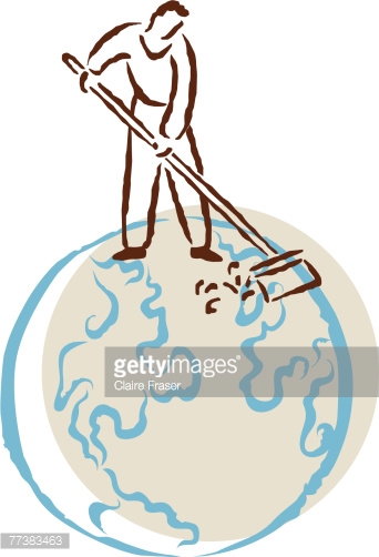 Casual Male Sweeping With A Broom Vector Art.