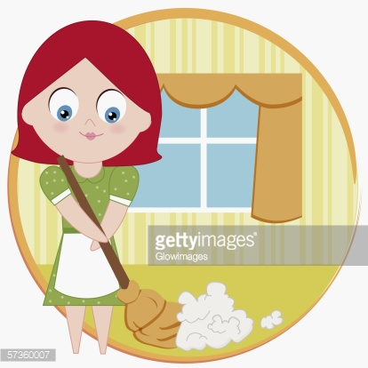Portrait Of A Woman Sweeping The Floor With A Broom Stock.