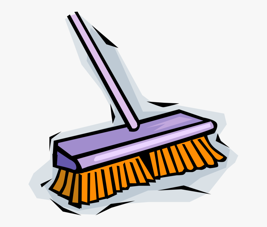 Vector Illustration Of Cleaning Broom Sweeping.