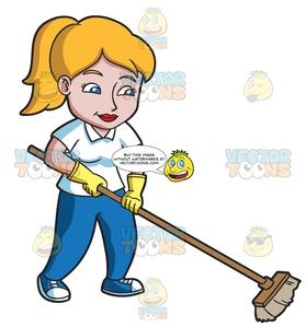 A Woman Sweeping The Floor.