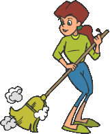 Woman sweeping clipart.