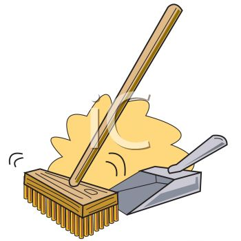 Royalty Free Clip Art Image: Push Broom Sweeping Dirt Into a Dustpan.
