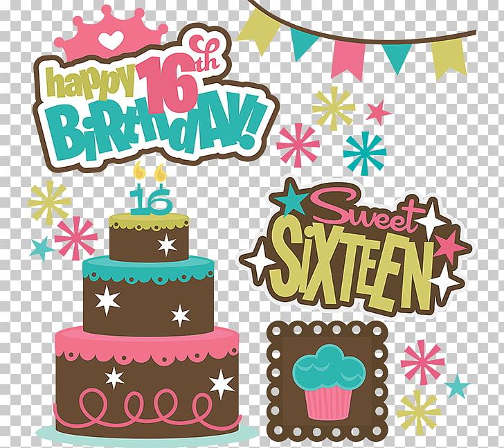 Birthday cake Sweet sixteen Wish , Happy Teenager s PNG.