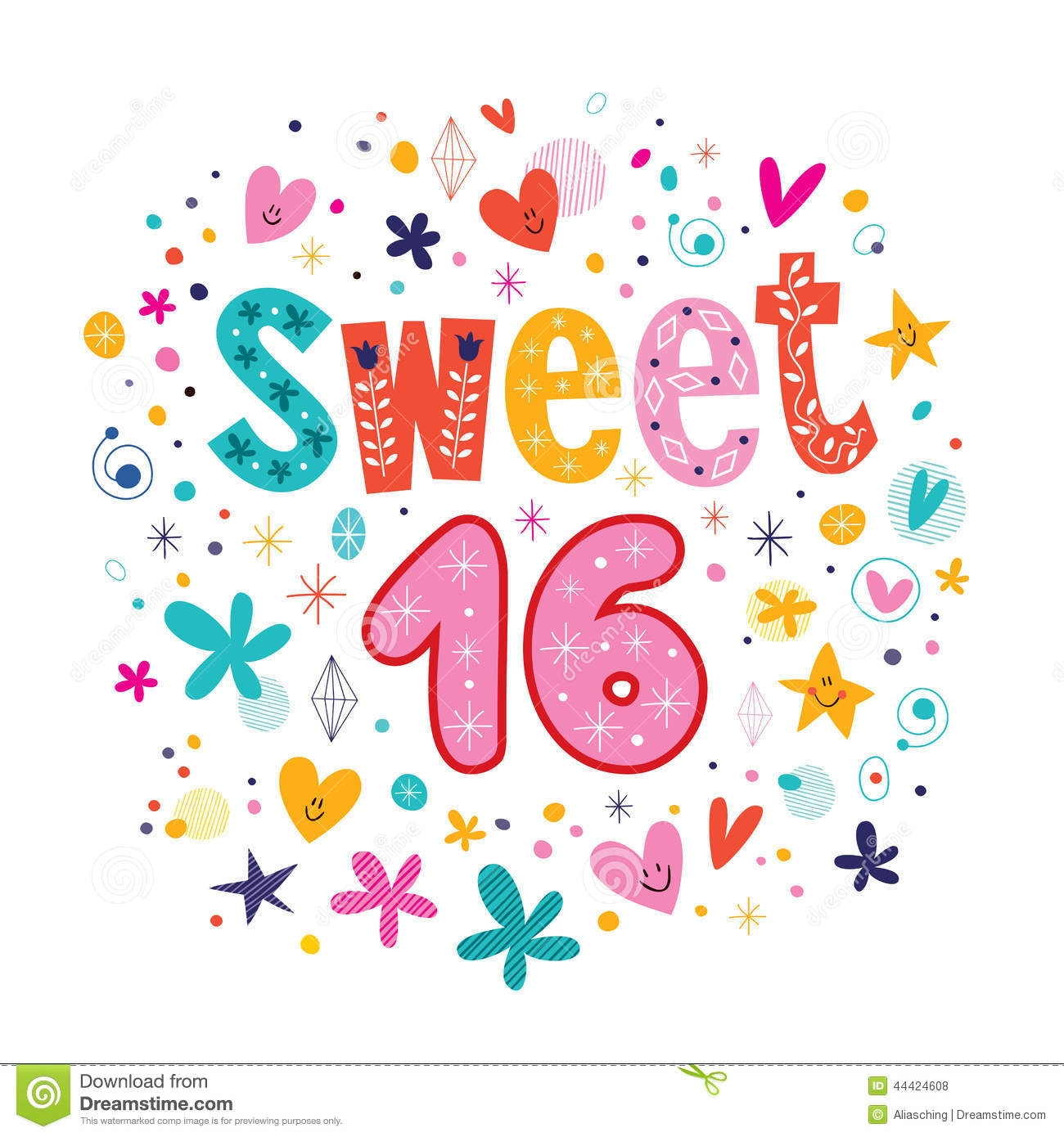 Sweet 16 Birthday Clipart.