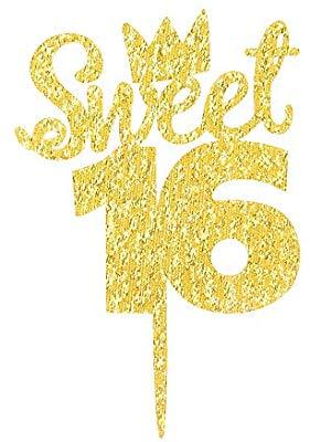 Gold Glitter Sweet 16 Cake Topper.