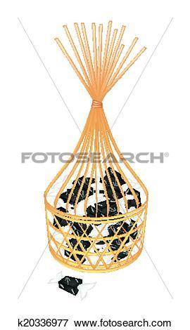 Clip Art of A Brown Basket of Sweet Banana Candies k20336977.