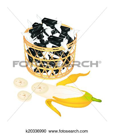 Clipart of A Brown Basket of Sweet Banana Candies k20336990.