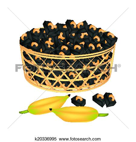 Clipart of A Brown Basket of Sweet Banana Candies with Cashew.