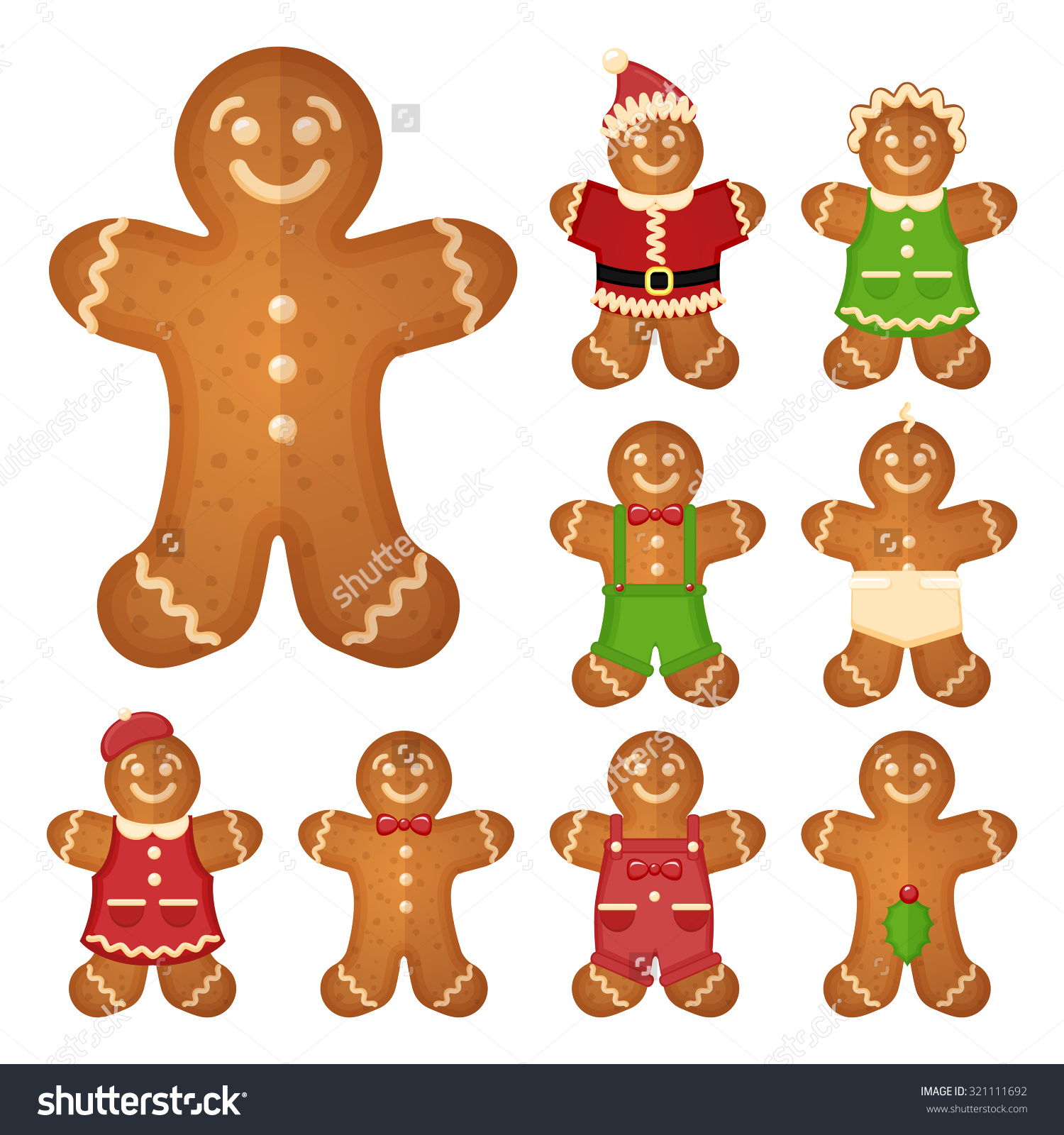 Gingerbread Man Christmas Cookie Holiday Sweet Stock Vector.