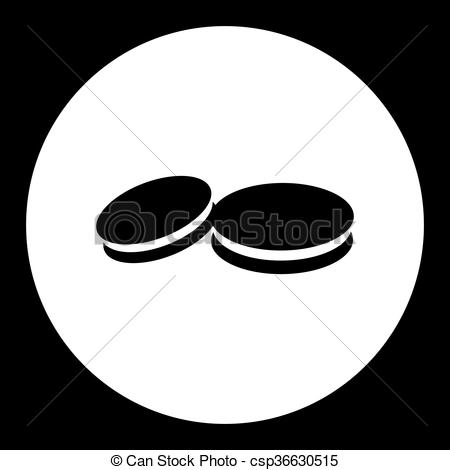Vector Clip Art of two sweet biscuits isolated simple black icon.