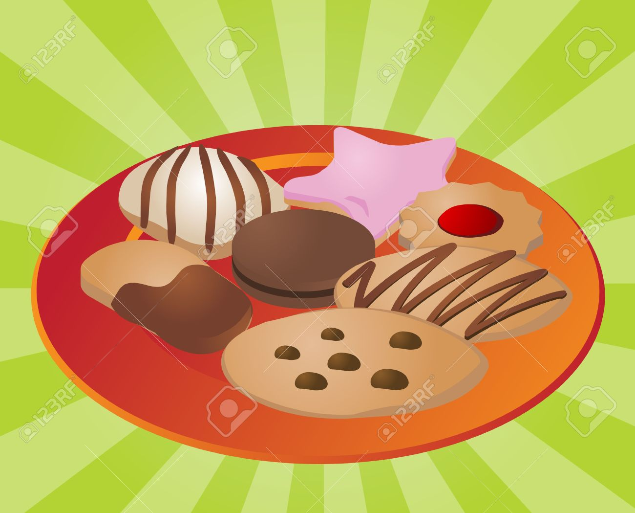 Assorted Cookies And Fancy Sweet Biscuits, Illustration Stock.