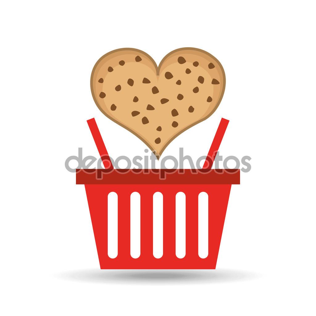 Basket sweet biscuits — Stock Vector © yupiramos #119468970.