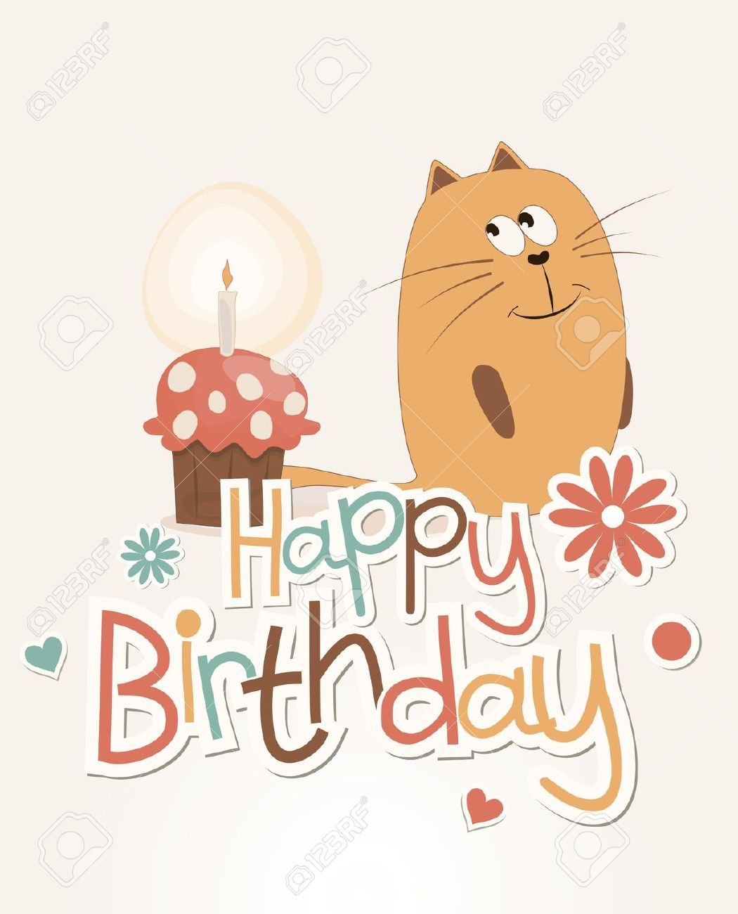 Postcard Birthday With A Sweet Cat And Cake Royalty Free Cliparts.
