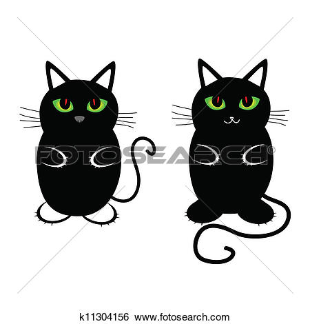 Clip Art of funny and sweet cat vector illustration k11304156.