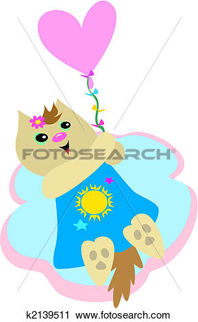 Clipart of Sweet Cat with Heart Balloon k2139511.