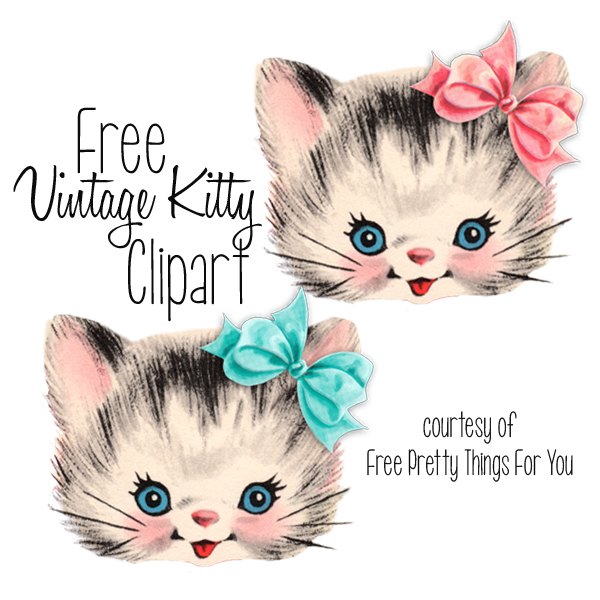 Free Vintage Kitty Cat Clip art by Free Pretty Things For You.
