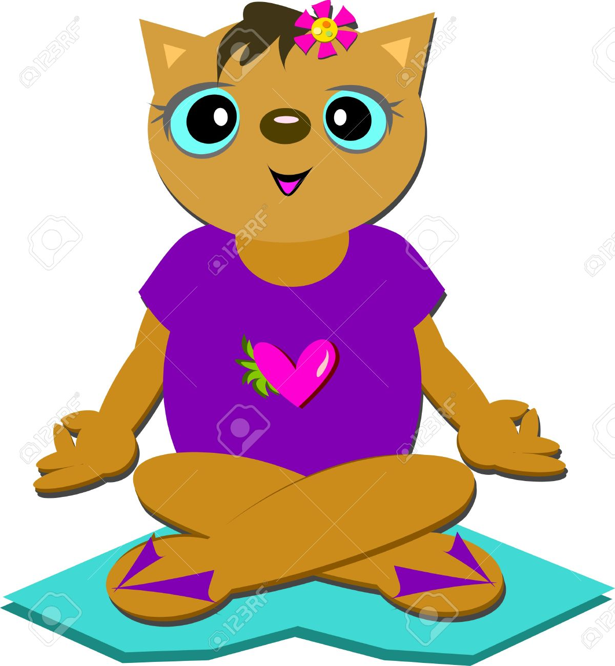 Sweet Cat Meditating On Love Royalty Free Cliparts, Vectors, And.