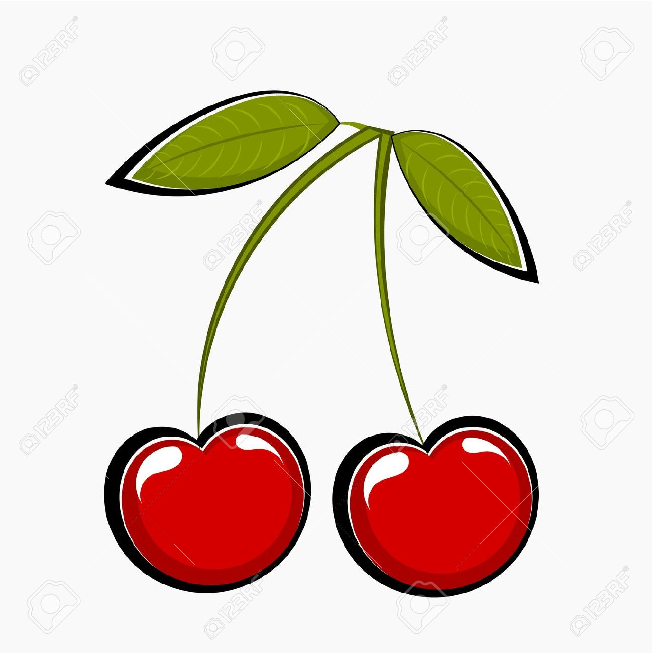 Two Sweet Cherries, Illustration Royalty Free Cliparts, Vectors.