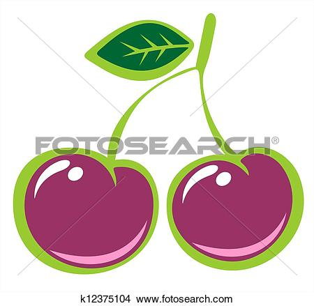 Drawings of sweet cherries k12375104.