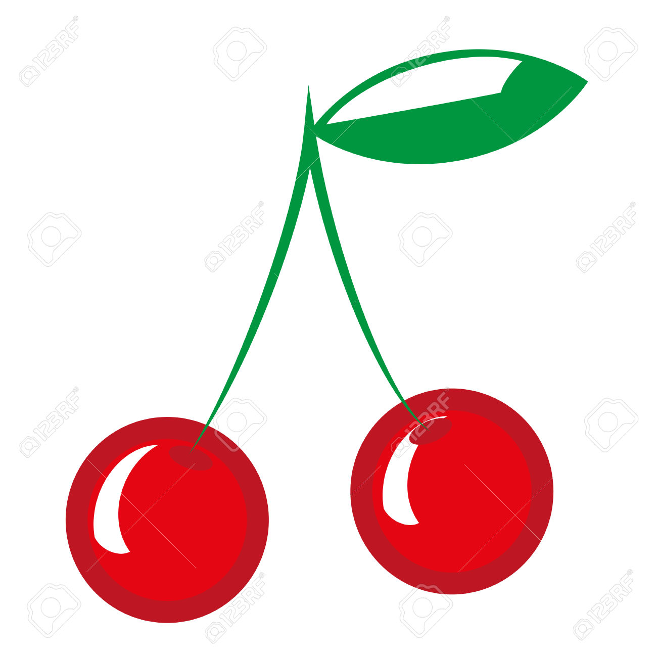 Two Sweet Cherries, Vector Illustration. Clip Art Royalty Free.