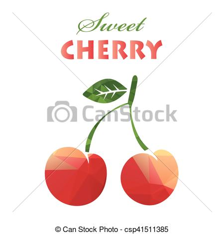 Vector of polygonal sweet cherry.