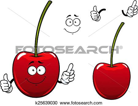 Clipart of Fresh sweet cherry fruit cartoon character k25639030.