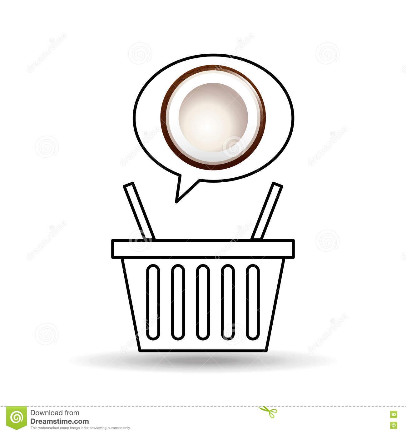 Basket Market Sweet Coconut Icon Design Stock Vector.