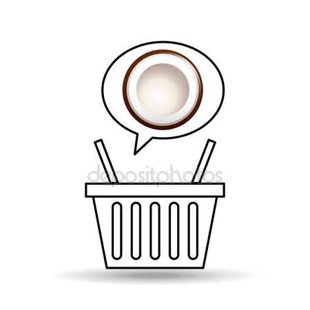 Basket market sweet coconut icon design — Stock Vector © yupiramos.