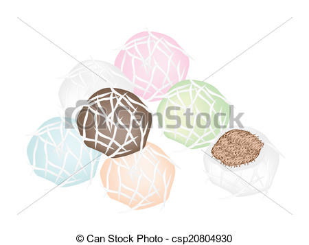 Vectors of Stack of Stuffed Coconut Ball with Sweet Coconut.