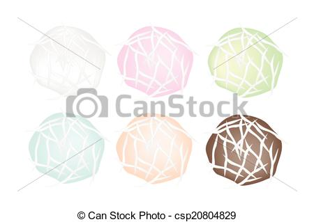 Vector Illustration of Set of Stuffed Coconut Ball with Sweet.