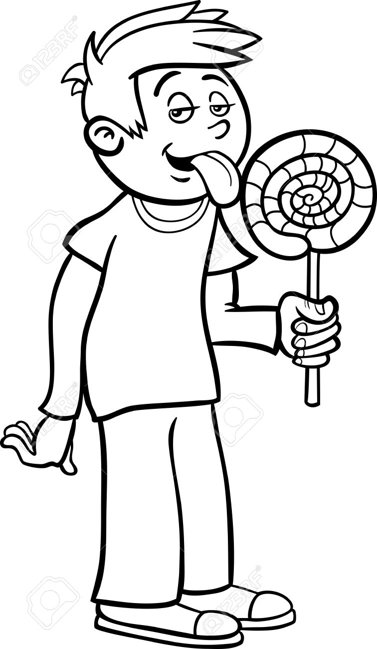 Black And White Cartoon Illustration Of Cute Boy With Big Lollipop.