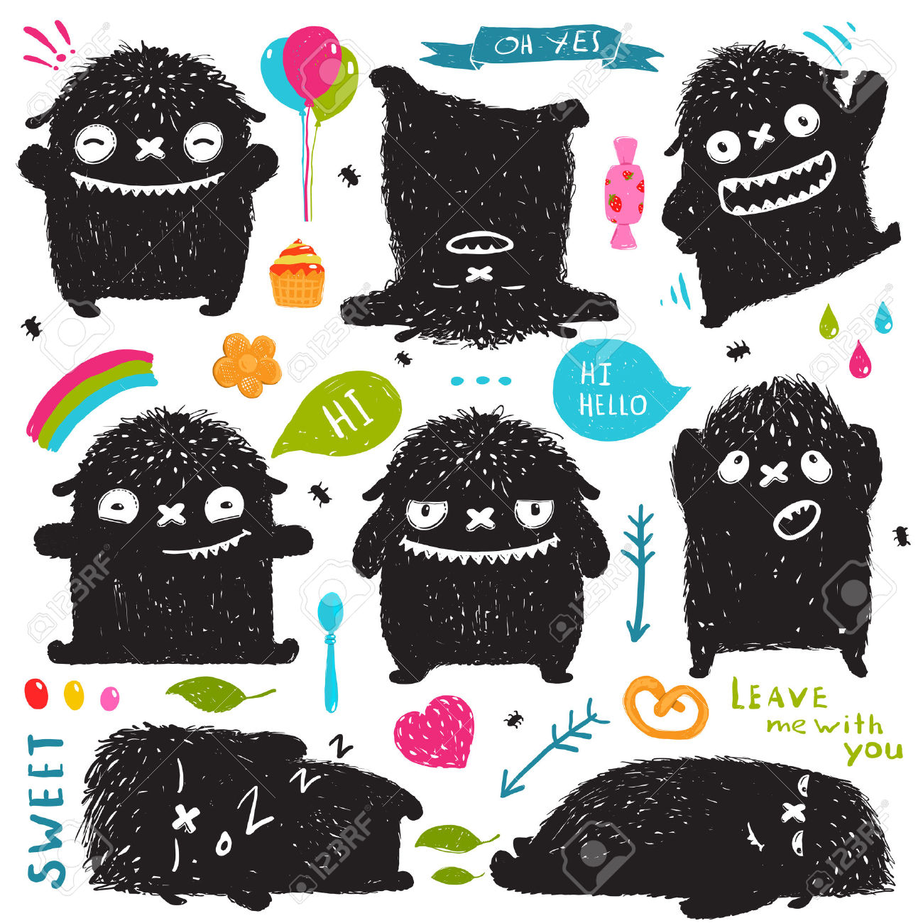 Funny Cute Little Black Monster Holiday Clip Art Collection.